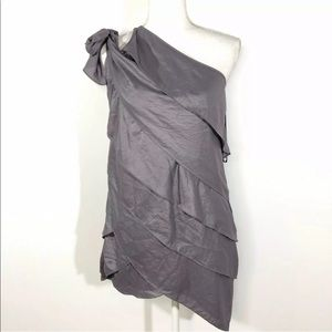 BCBG Sz XXS Layered Dress Gray Tiered One Shoulder